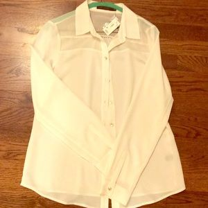 NWT: The Limited offwhite button blouse- small